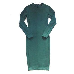 Zara dark green scuba body con dress
